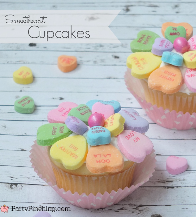 Sweetheart Conversation Heart Cupcakes, Easy Valentineu0027s Day Dessert Ideas  For Kids Classroom Party, Cute