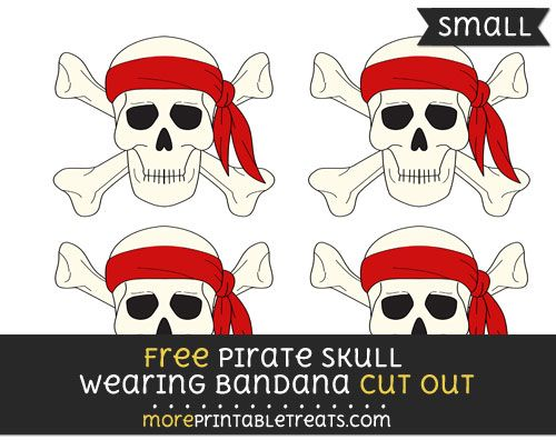 Free Pirate Skull Wearing Bandana Cut Out Small Size