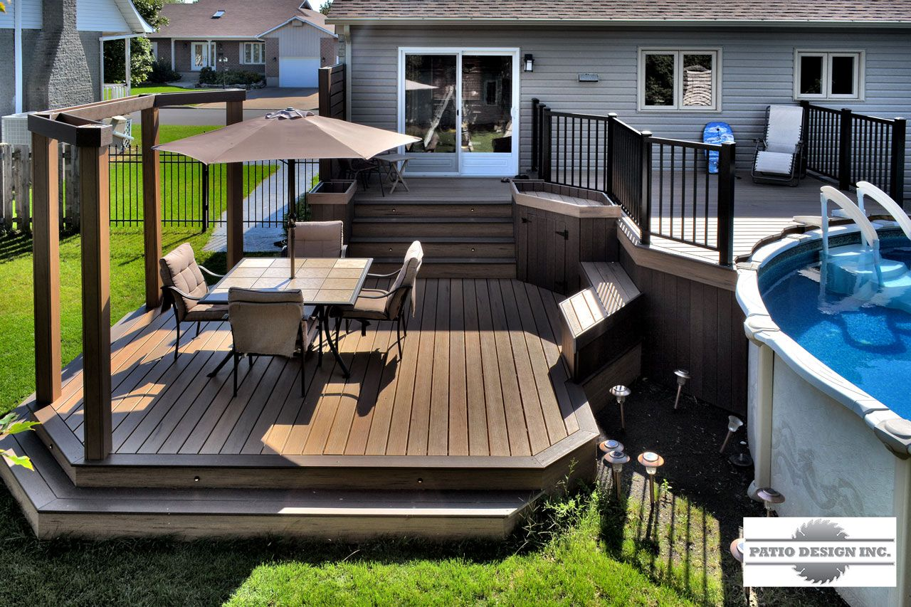 Patio avec piscine hors terre arri re cour pinterest for Construction piscine 41