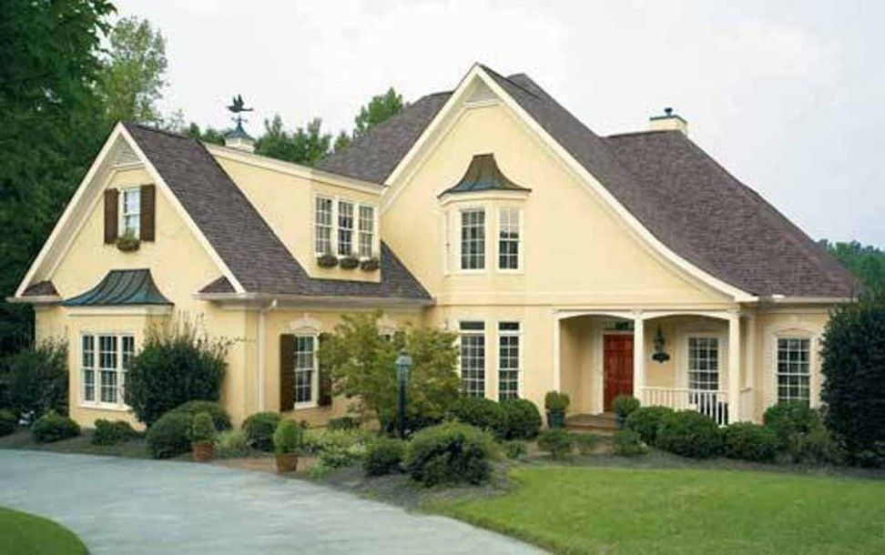 Sweet house exterior color idea with yellow wall with Exterior house colors with brown roof