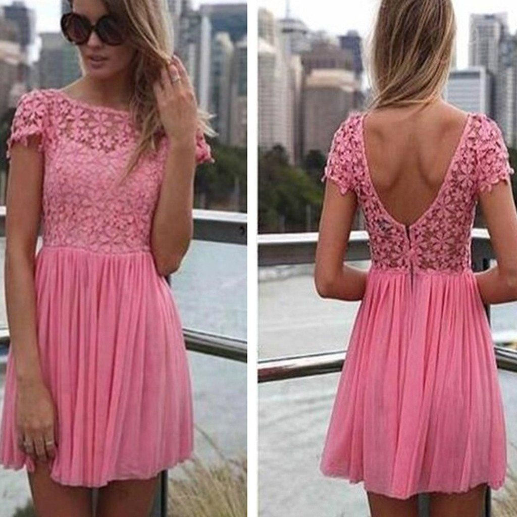 Short sleeve peach pink lace open back freshman homecoming prom ...