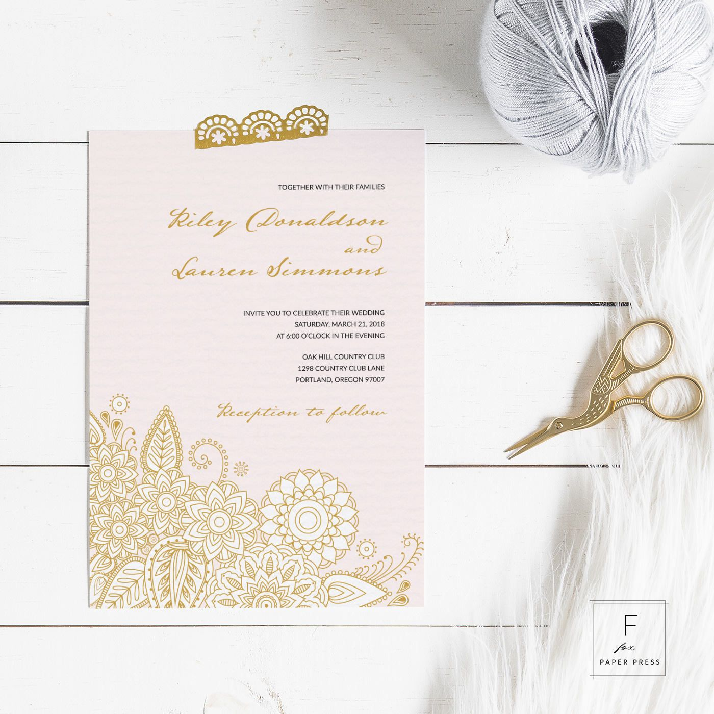 Introducing A Lovely Pink And Gold Paisley Wedding Invitation Set By Fox Paper Press Features: Pink Paisley Wedding Invitations At Reisefeber.org