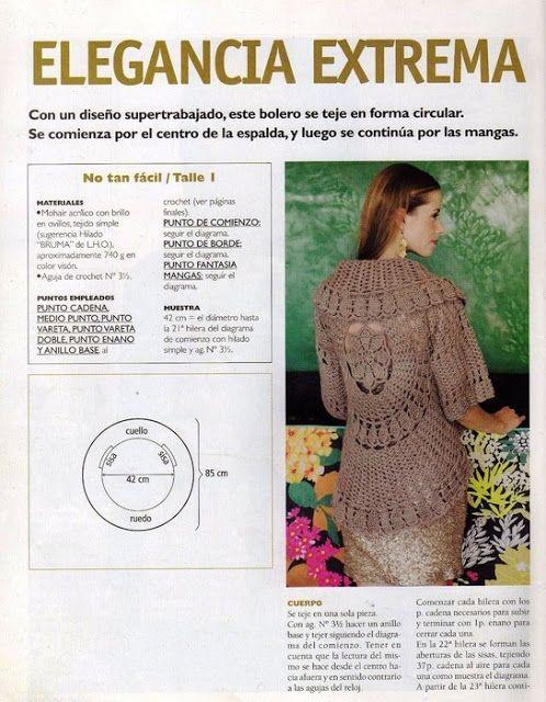 Bolero Tejido en Circulo Patron | Crochet Patterns | Pinterest ...