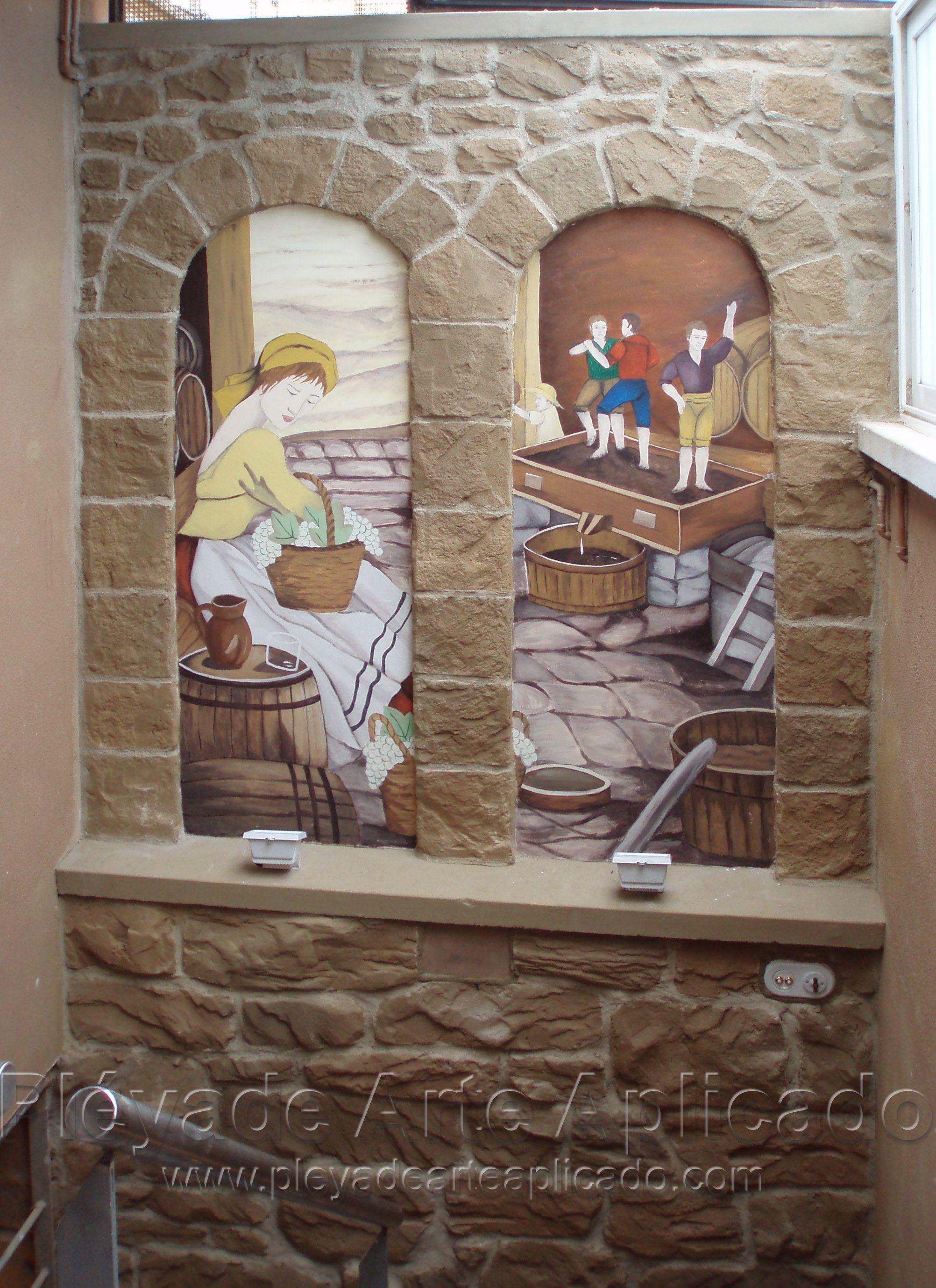 Decoraci n con arcos de piedra y pintura mural for Decoracion de pintura