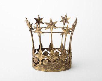 Crown Cake Topper, Gold Crown, Wedding cake topper, Santos Star Crown