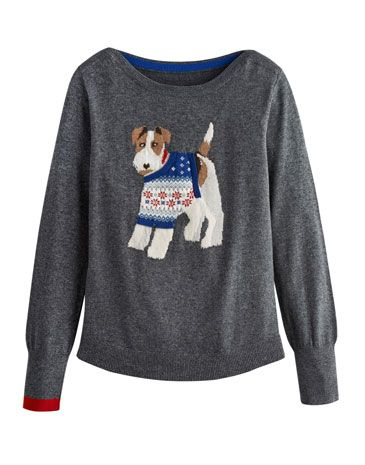 Joules Null Womens Intarsia Jumper Christmas Dog Crafted For A
