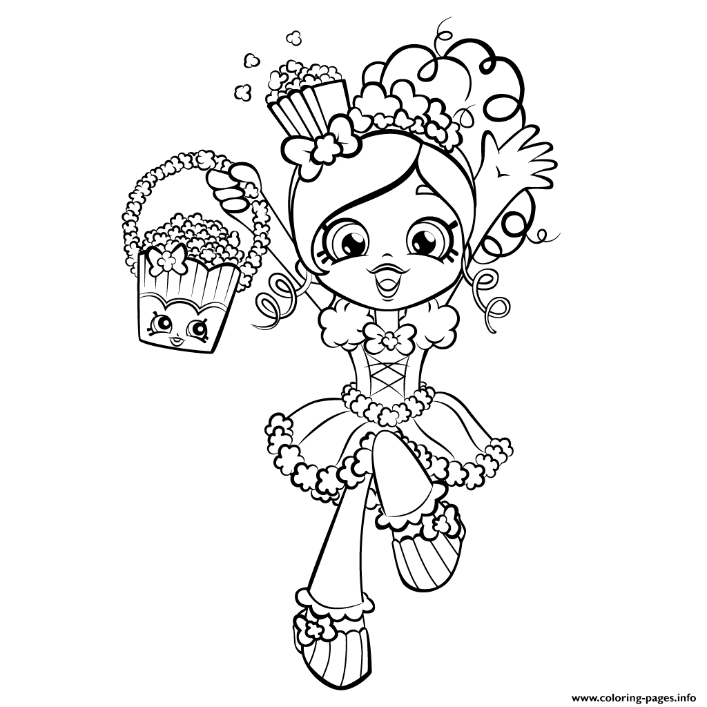 Shopkins coloring pages to color online - Happy Shopkins Shoppies With Popcorn Coloring Pages Printable And Coloring Book To Print For Free Find More Coloring Pages Online For Kids And Adults Of