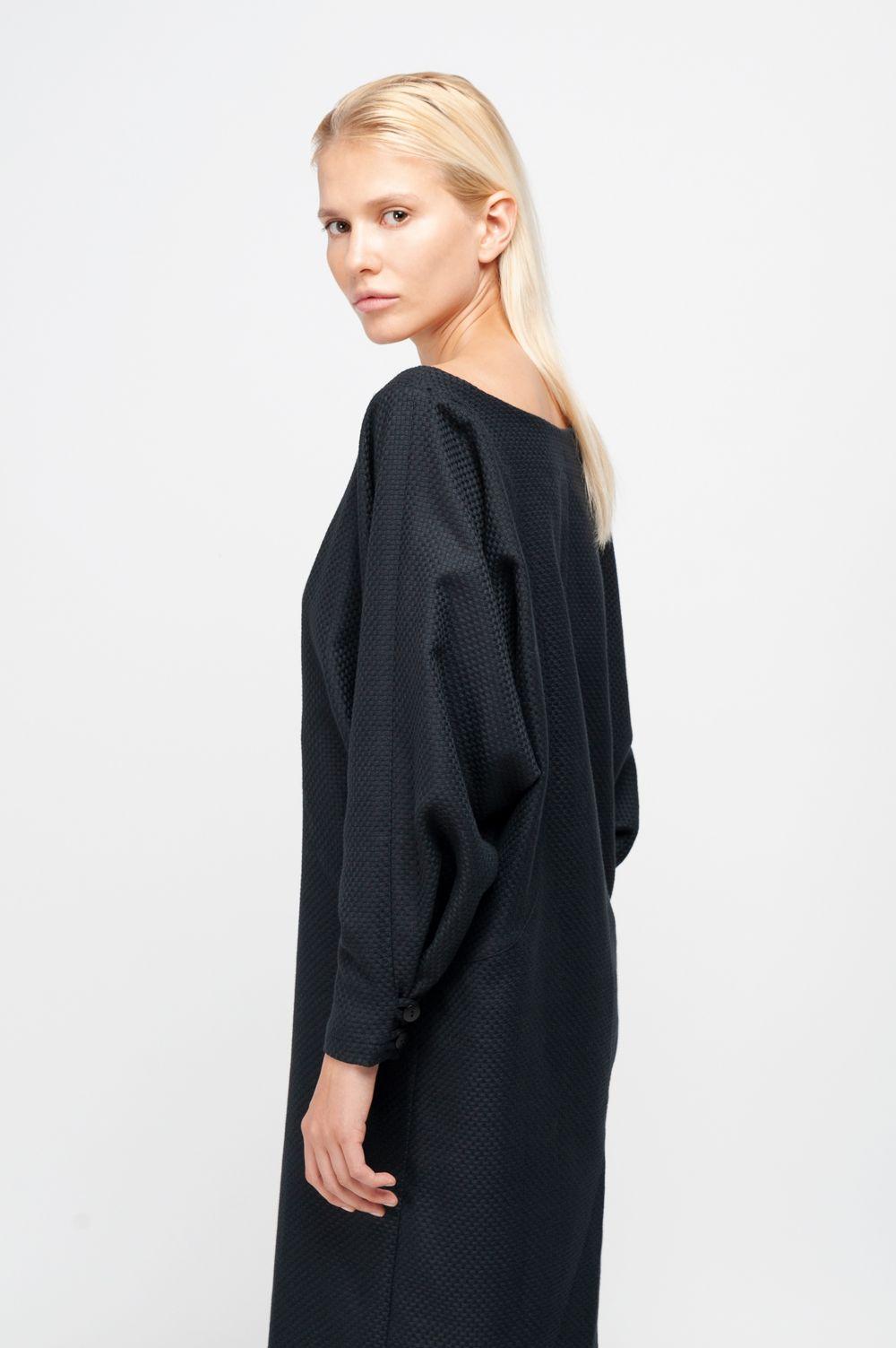 meryl dress cotton structure black | kleid mit