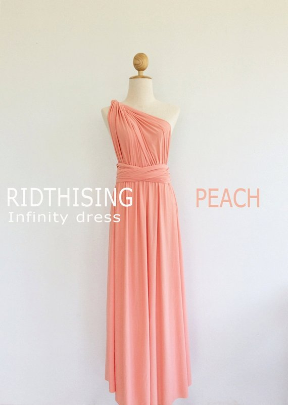 07c4d558bc3 Maxi Peach Bridesmaid Dress Infinity Dress Bridesmaid Dress Prom Dress  Convertible Dress Wrap Dress