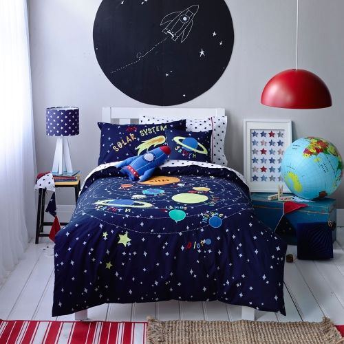Solar System Space Blue Glow In Dark Duvet Cover Set With Images