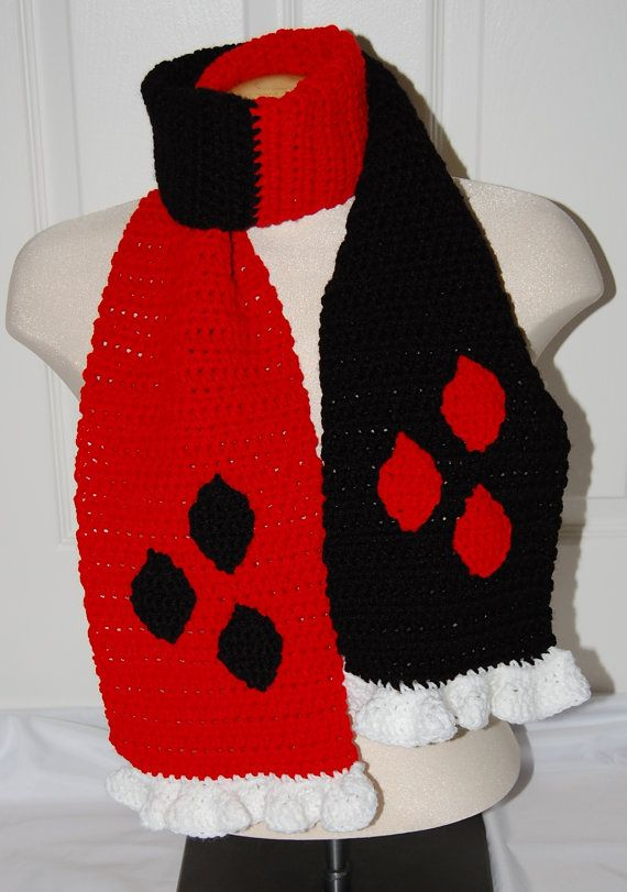 Harley Quinn Adult Winter Scarf in Black and Red by efficientsense ...