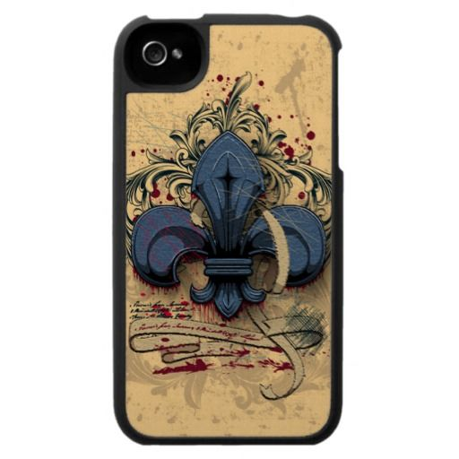 Vintage fleur-de-lis  blue metal grunge effects iPhone 4 covers
