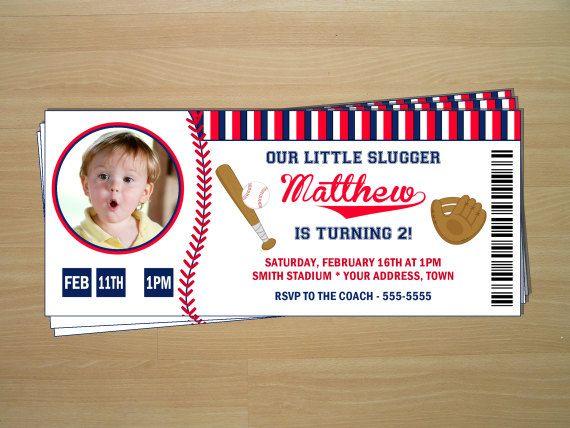 Baseball Ticket Birthday Invitations - Digital File