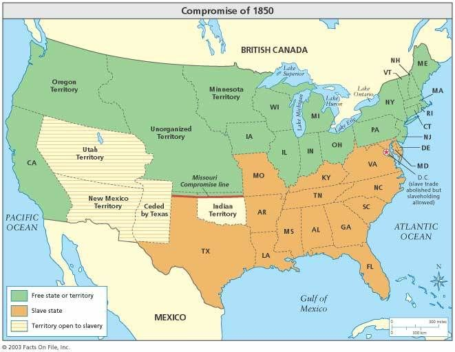 The Missouri Compromise And The Compromise Of Great Site To - 1850 map of us