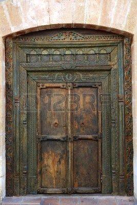 Antigua oriental india policroma madera puerta de entrada for Fotos de puertas de madera antiguas