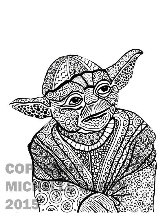 Zen Yoda Colouring Page