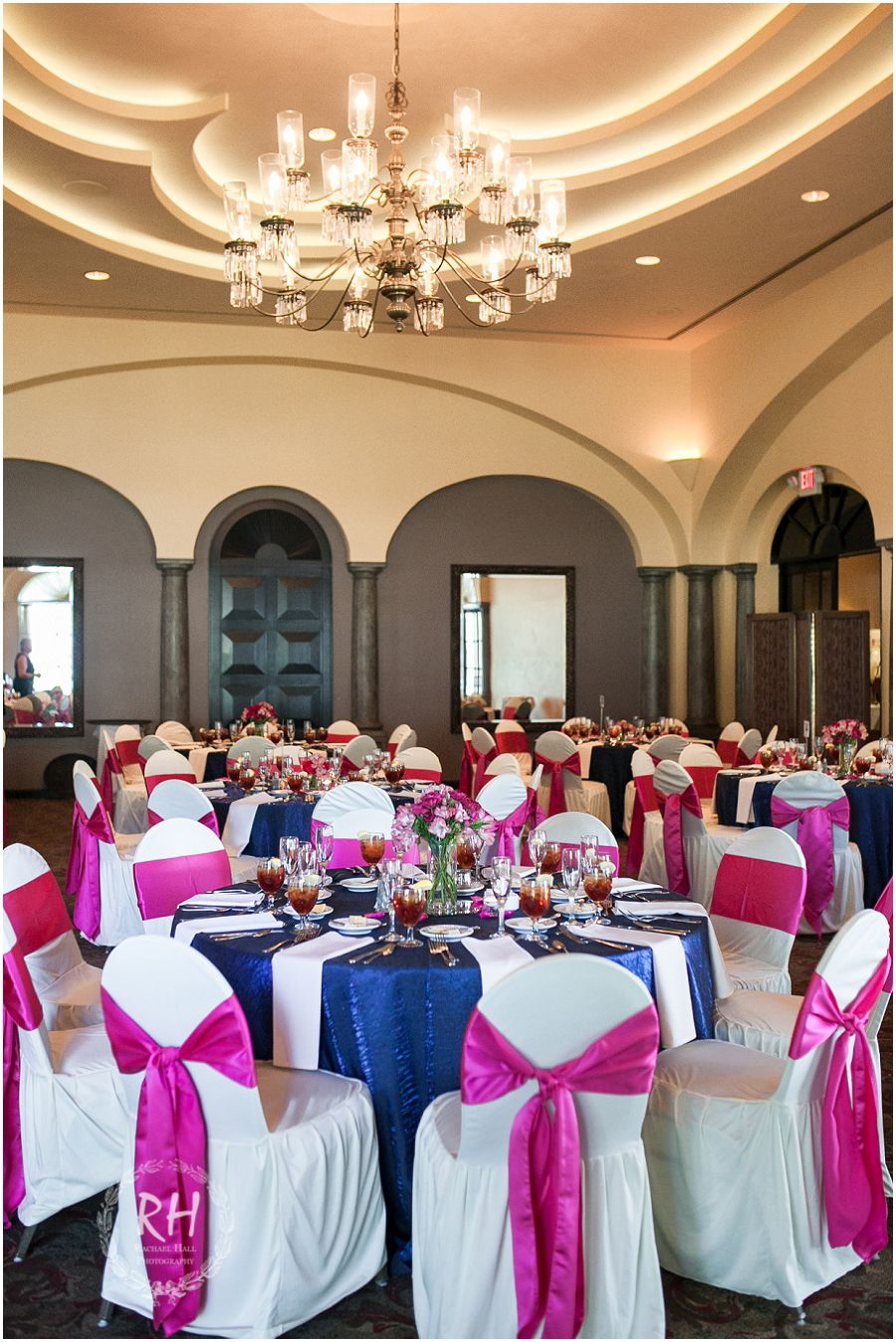 Blue and white wedding decor  Navy blue and hot pink wedding reception colors at The Club at