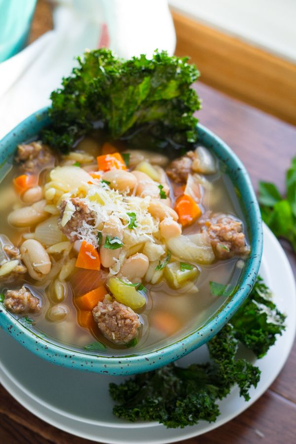 Sausage, White Bean and Orzo Soup with Parmesan Kale chip 'Dippers'