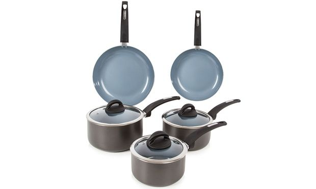 These pans are coated with cerasure, a non-stick ceramic coating, featuring pressed aluminium body, as well as bonded stainless steel base