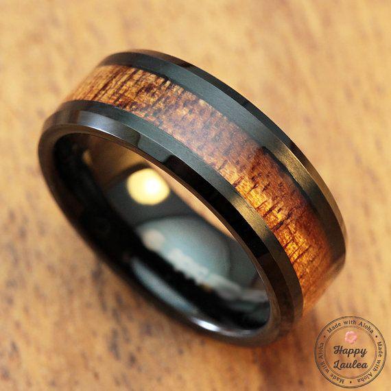 black tungsten carbide ring with koa wood inlay 8mm width black ip beveled mens wedding rings - Koa Wood Wedding Rings