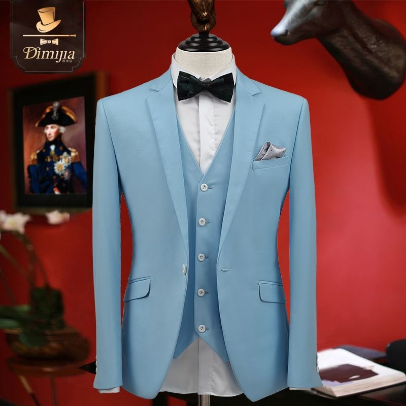 2017 Light Blue Men Formal Business Wedding Groom Suit Set Single ...
