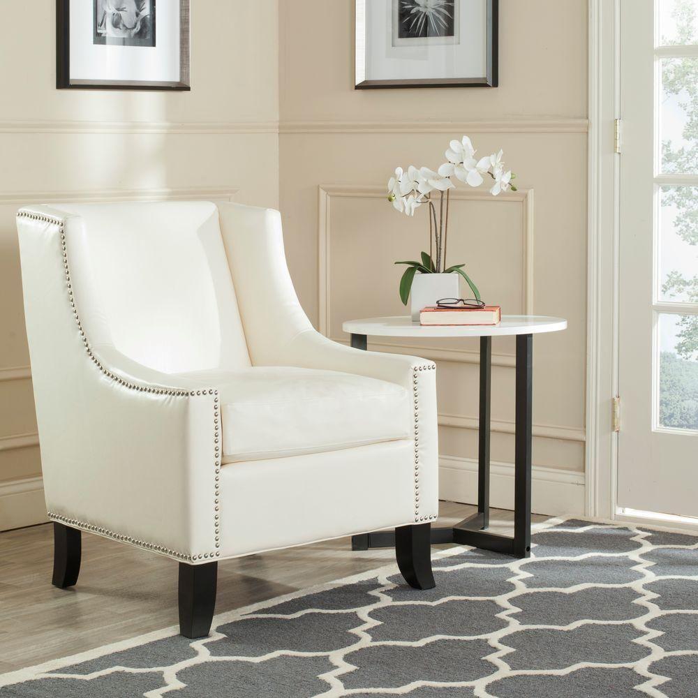 Daniel Antique White Leather Club Arm Chair, Antique White/Black ...