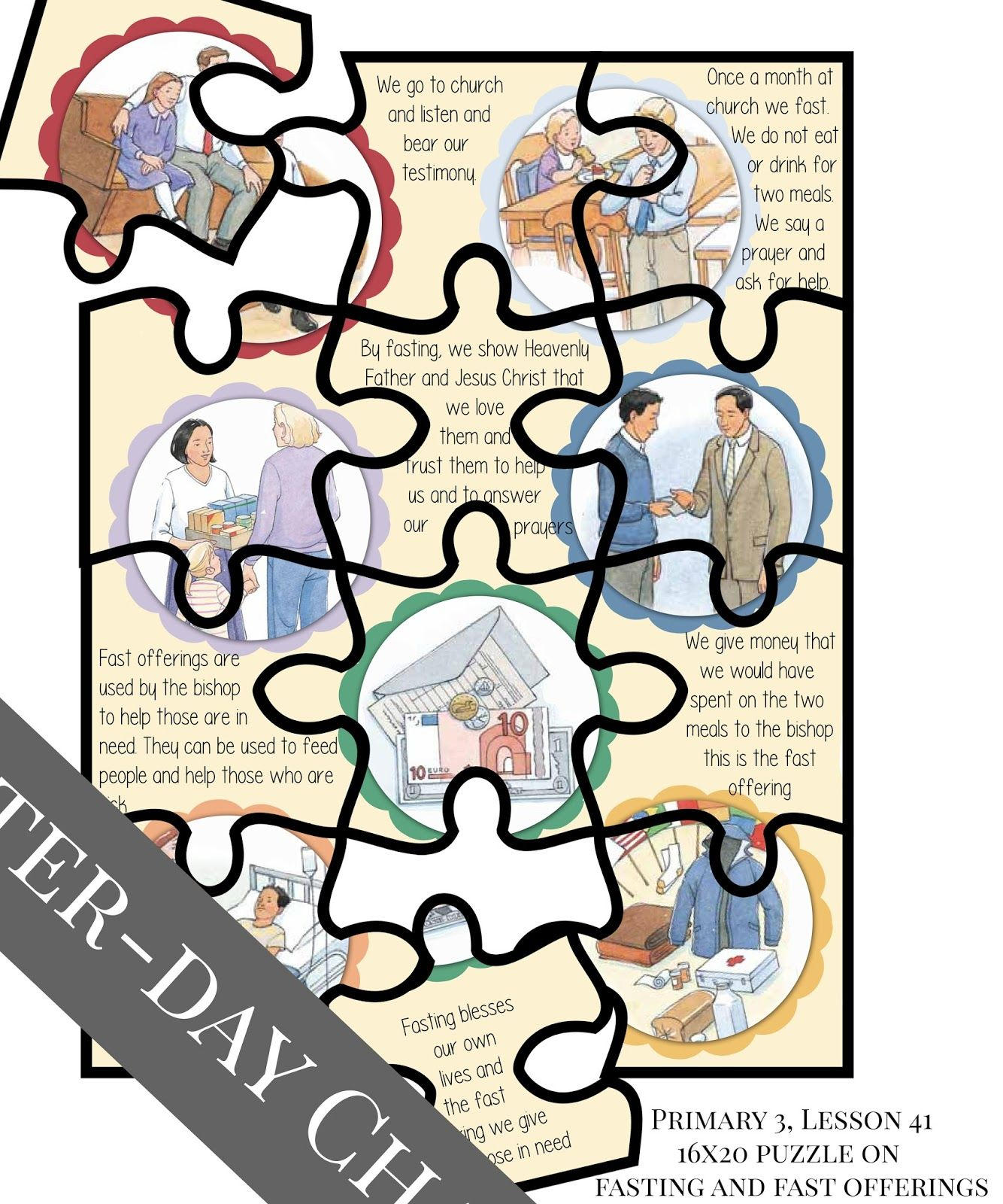 Latter Day Chatter Primary 3 Lesson 41 Large Puzzle 16x20 Inches