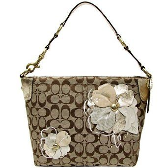 New Authentic Coach Signature Bleecker Carly Flower Floral Hobo