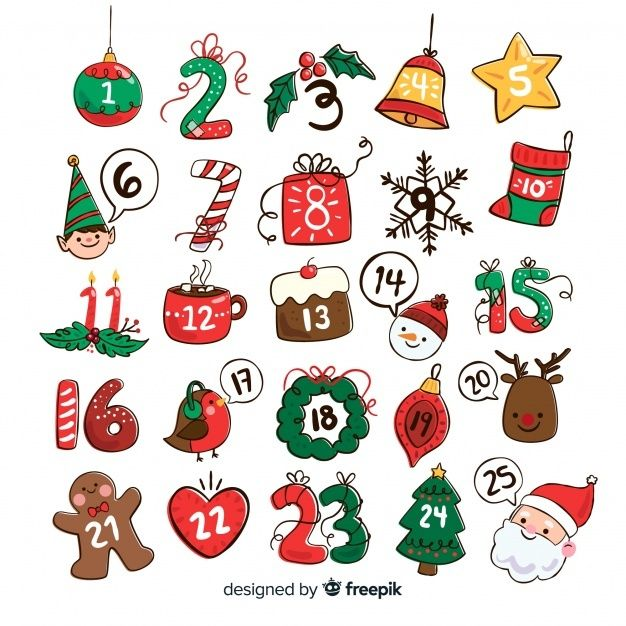 Download Hand Drawn Christmas Elements Advent Cale