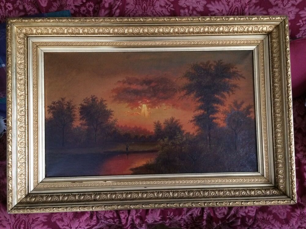 Great Signed Old Oil Canvas Painting Red Sunset Ornate Gold Frame 38 X 25 X 3 In 2020 Vintage Landscape Canvas Painting Red Sunset