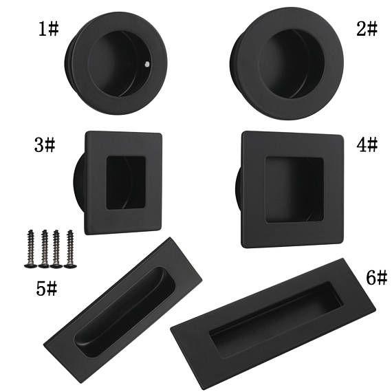 Black Flush Recessed Finger Pulls Kitchen Cabinet Door Handles Drawer Knobs