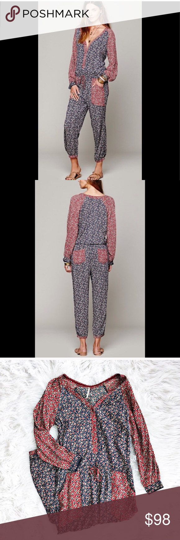 47cce77c8e3 Free People Leia floral print jumpsuit Long sleeved mixed floral print Leia  jumpsuit