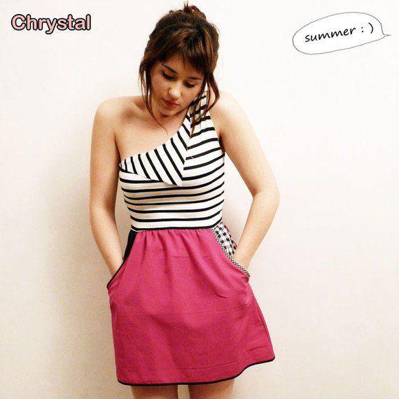 One shoulder striped dress// Deep Pink Skirt part by chrystalshop