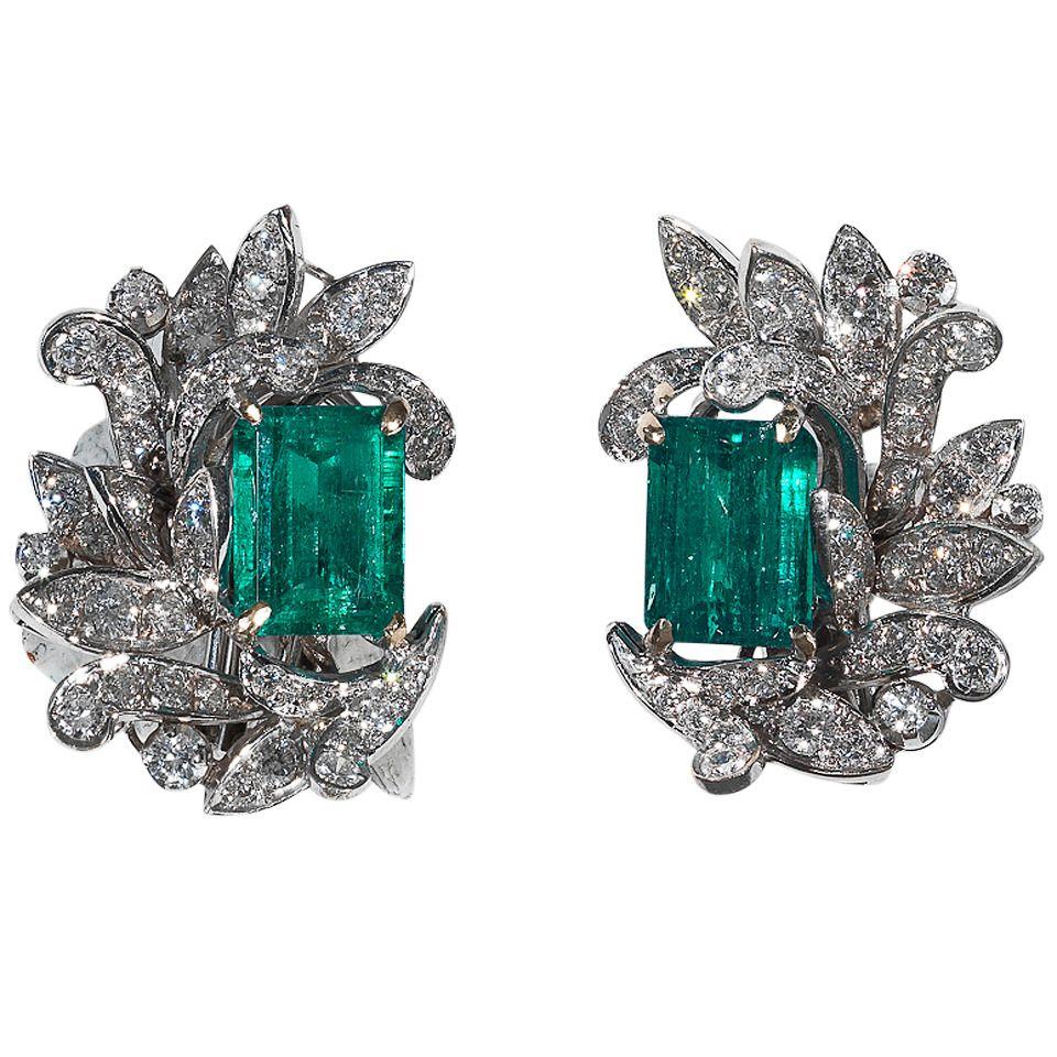 Pair of Emerald Diamond Leaf Earrings See more rare