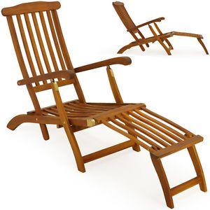 Holzliege Deckchair Sonnenliege Liegestuhl Liege Gartenliege