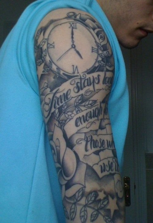 Half+Sleeve+Tattoo+Piece+Based+On+Time+And+Life+Death ...