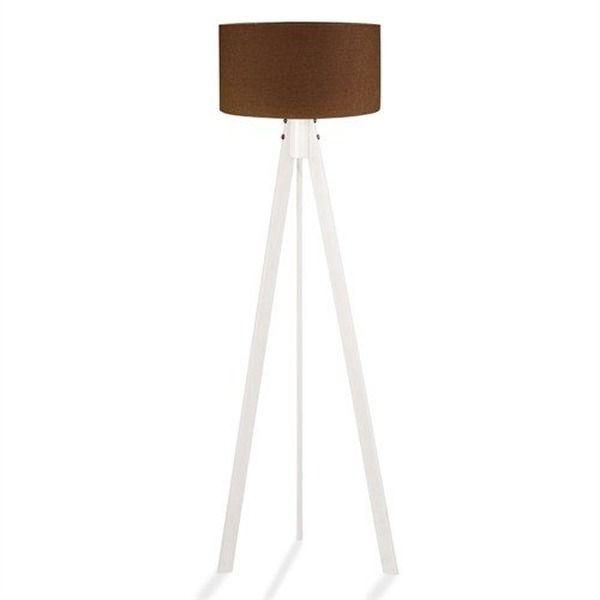 Lovely Stehlampe Tripod Stehleuchte Deckenfluter Standleuchte Fluter Leselampe  (Braun Textilschirm / Weiß Holzfuß)