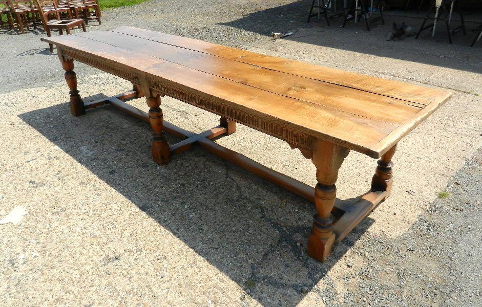 a2598737d08ec Large Antique Oak Refectory Table 12ft 4 Metre Jacobean Revival