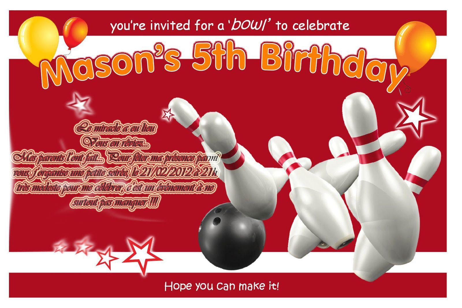 invitation anniversaire bowling 20 des
