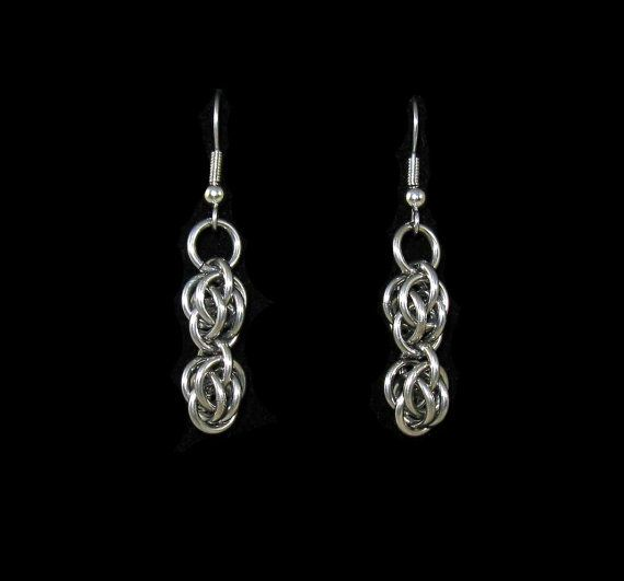 Stainless Steel Sweetpea Chainmaille Earrings