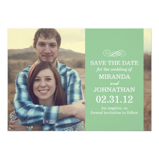 Mint Banner Photo Save The Date Invites