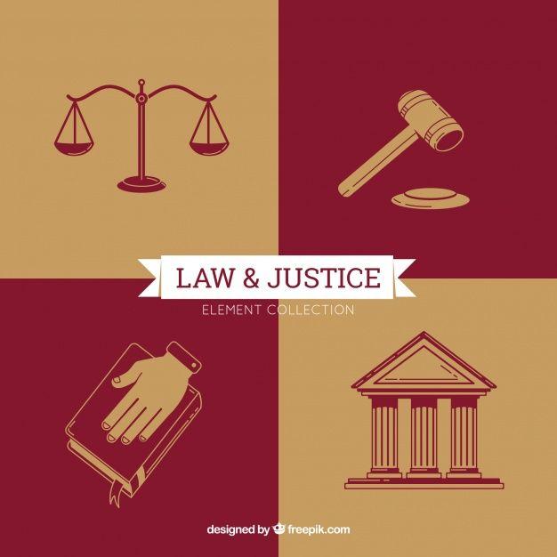 Elementos de ley y justicia con estilo m  Free Vector