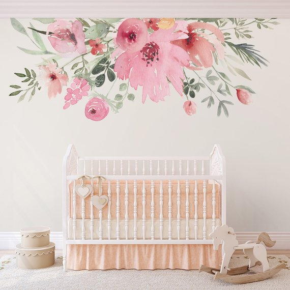 Wall Decals Flower Wallpaper Large Flowers Photo Wallpaper Nursery Wallpaper Watercolor Baby Wall Decor Pink Floral