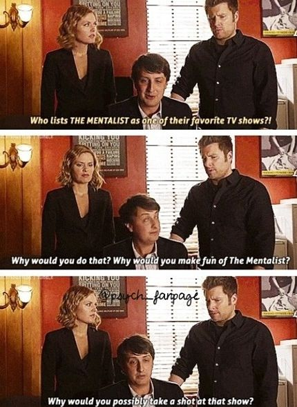 Image result for Psych vs. The Mentalist