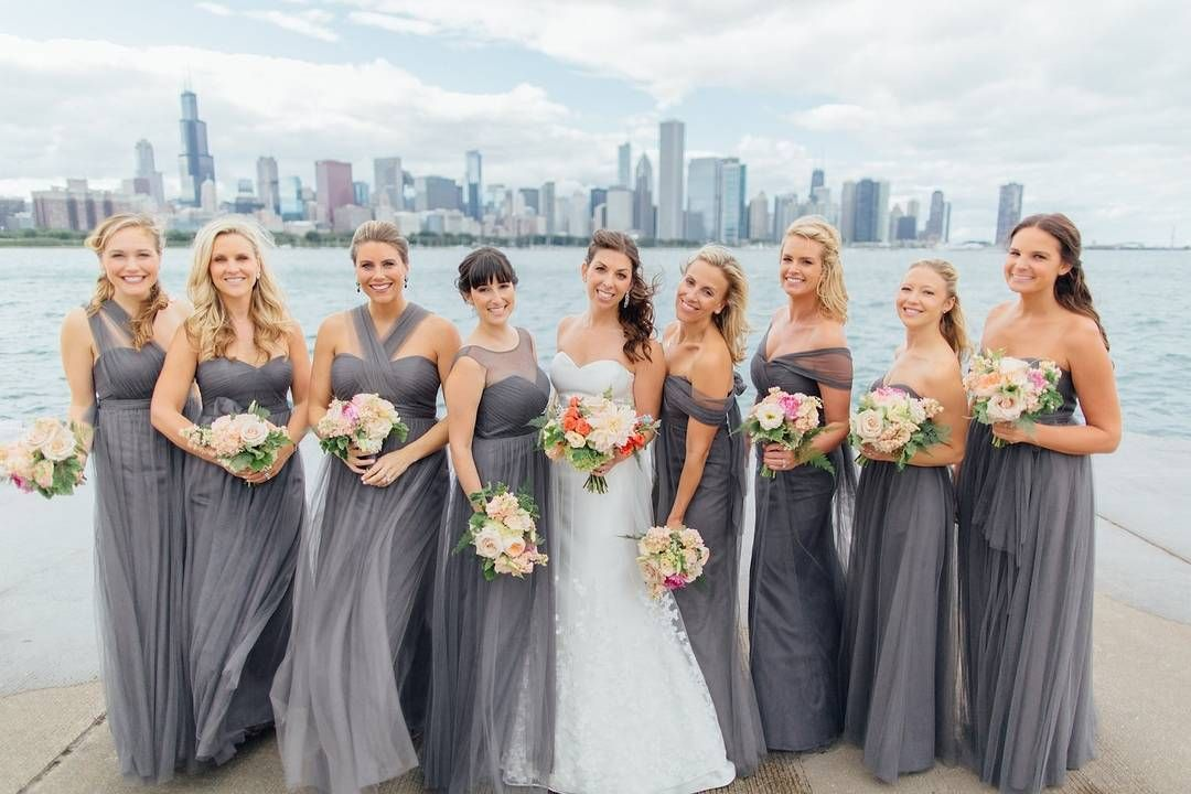 87f980f7675 Alex   her bridesmaids look stunning in these sterling gray Jenny Yoo  convertible dresses available on brideside.com. Photo by  Tim   Bethany  Tabailloux