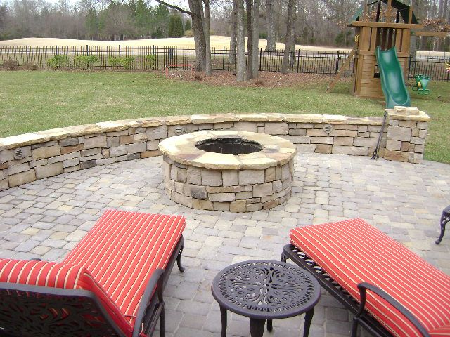 Low Voltage Paver Wall Lights : Small masonry firepit with paver patio, stone seat walls and low voltage landscape lighting ...