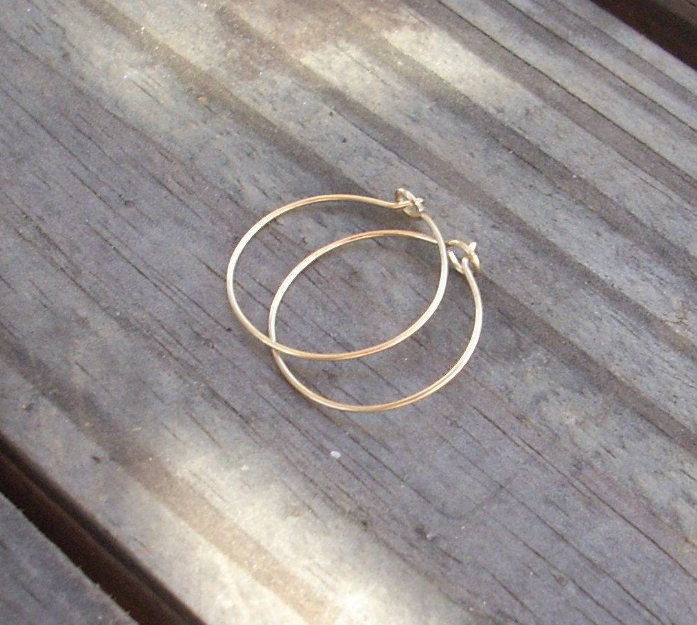 14k Gold Wire Hoop Earrings 12 95 Via Etsy