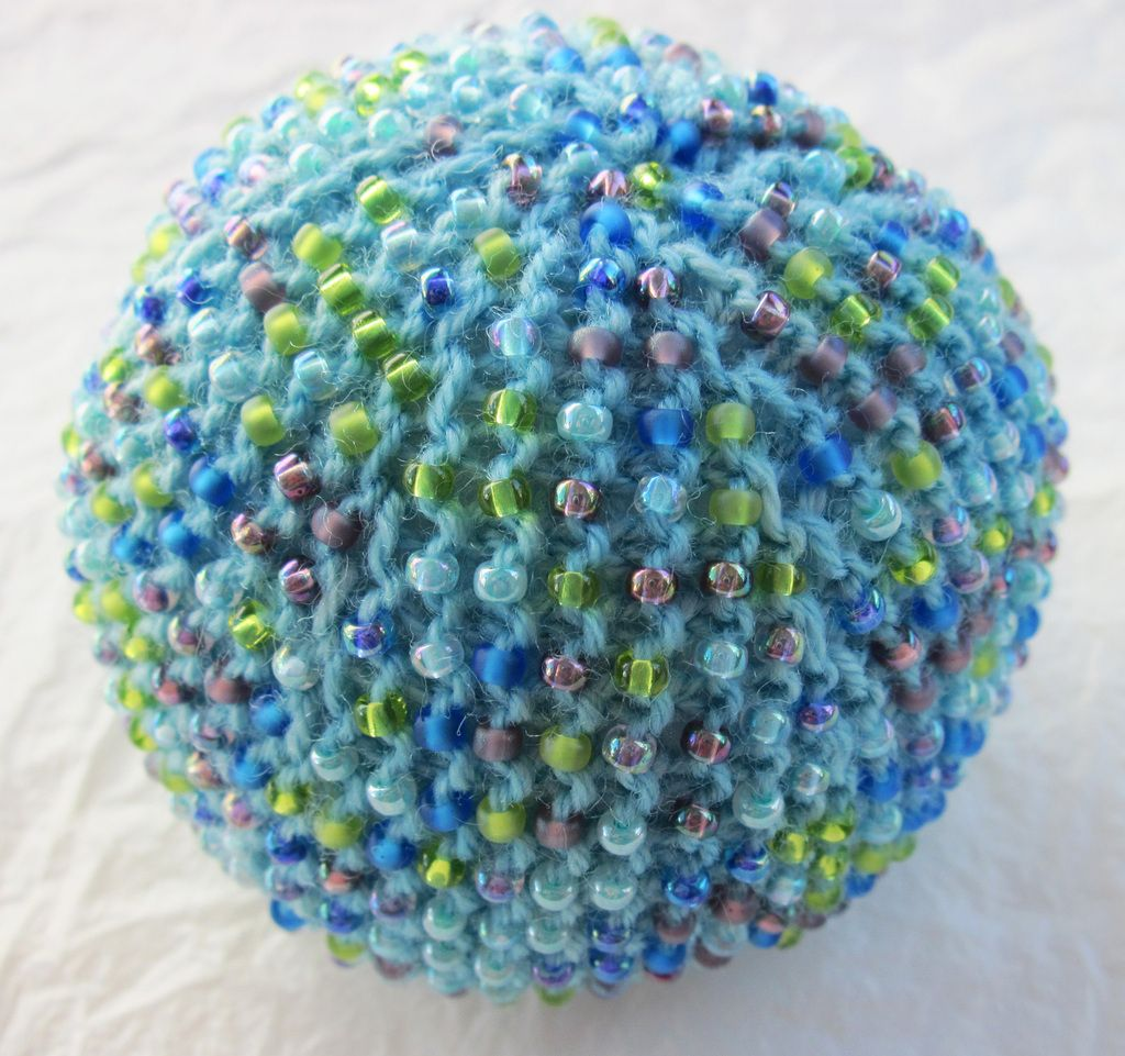 Beaded stress ball (or ornament...?) Hacky sack crochet