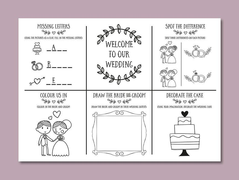 - Wedding Kids Activity Pack Wedding Colouring Book Printable Etsy Wedding  With Kids, Kids Wedding Activities, Kids Table Wedding