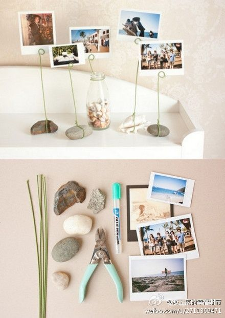 stone photo holder diy photography projects pinterest. Black Bedroom Furniture Sets. Home Design Ideas